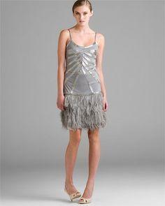 Sue Wong Platinum Feathered Dress