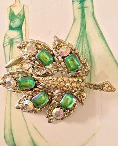 Antique Art Deco Peacock Pin Brooch Marcasites Rhinestones Diamanté Green Silver
