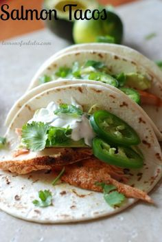 Salmon Tacos with Jalapeno Cream- sub out sour cream for greek yogurt! Healthier!
