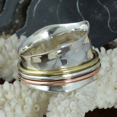 EXCLUSIVE 925 SOLID STERLING SILVER Three Tone Spinner RING 7.41g DJR9693 SZ-10 #Handmade #Ring
