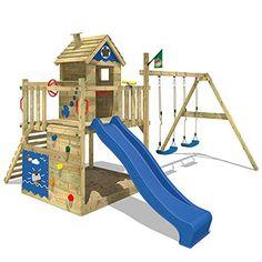 WICKEY Aire de jeux SeaFlyer Portique de jeux en bois Maison pour jardin avec balançoire, toboggan bleu, mur d'escalade, échelle de cordes, bac à sable + Accessoires