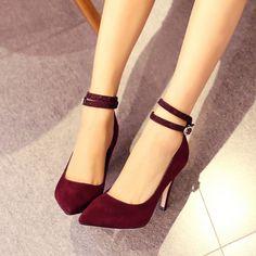Ladies Sexy Fashion Stilettos High Heel Ankle Strap Pointy Toe OL Womens Shoes