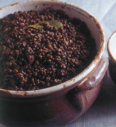 Lentils Braised in Red Wine. I've made this twice, big hit. Perfect winter dish for a cold evening. Nigella Lawson