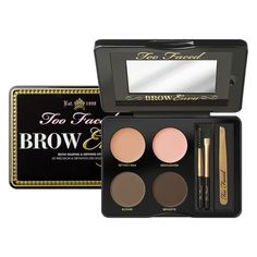Too Faced | This portable kit is like a brow bar in your pocket: professional tweezers, easy-to-use stencils to customize your brow shape, conditioning wax, powder and brow brush tools
