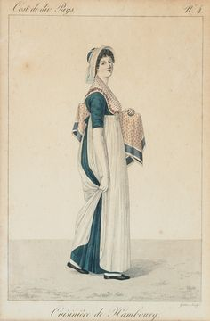 This lady carries a package and wears an apron for work. 1800s Fashion, 19th Century Fashion, Vintage Fashion, Steampunk Fashion, Gothic Fashion, Regency Dress, Regency Era, Historical Costume, Historical Clothing