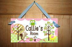 Nature Love Owl Girls Bedroom Door Sign Wall Art Matches Circo Bedding.