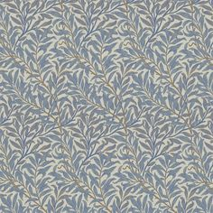 William Morris Fabric Willow Bough Mineral / Woad upholstery fabric design by Morris & Co