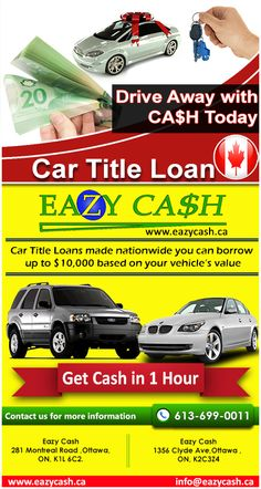 Get Eazy Car Title Loans at Ottawa Up to  $10,000 depending upon the model and mileage of your vehicle.