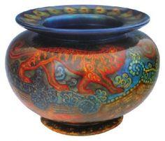 Zsolnay - Vase with lion ornaments around, Zsolnay, around 1910 Decoration design: Sandor Hiday Pillo