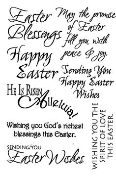 "Easter - $3.00  	 Rubz by My Sentiments Exactly!  These Easter greetings are perfect for the inside and/or outside of your cards!!  Several different fonts and styles.   Easy to apply and position as you like.  One sheet of rub-ons approximately 5 1/2"" x 4"" per package"