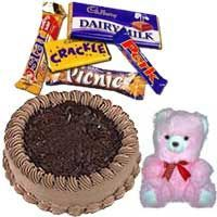 1 Lb Chocolate Cake with Small Teddy and Chocolates
