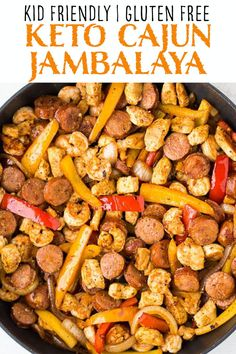 This Keto Cajun Jambalaya includes a combination of Andouille sausage, chicken, shrimp and vegetables in a flavorful, creamy Cajun flavored sauce. Serve this dish over cauliflower rice for a low carb, gluten free dinner! Chicken Andouille Sausage Recipe, Chicken Sausage Recipes, Healthy Sausage Recipes, Keto Recipes, Donut Recipes, Keto Desserts, Shrimp And Vegetables, Jambalaya Recipe, Breakfast Recipes