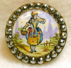 Antique French Enamel Button Cut Steel Rim wHand Paint Lady holds Basket & Gold