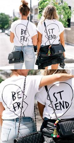 c2615313e56a Best Friend Letters Printed Cotton T-shirt For Women Get Two Shirts for big  sale