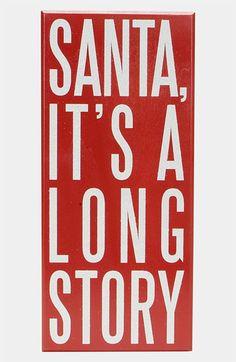 Primitives by Kathy 'Santa, It's a Long Story' Box Sign | Nordstrom