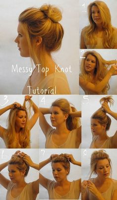 DIY Messy Top Knot - I can NEVER find out how to, but I will try this! c: