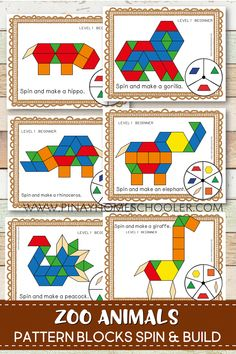 Create beautiful pictures of zoo animals with these pattern block spin and build mats. It is a fun way of learning geometric shapes and an engaging math activity for kids.Kids and Animals at The Zoo - Funny . Zoo Animal Activities, Math Activities For Kids, The Zoo, Preschool Zoo Theme, Preschool Kindergarten, Pictures Of Zoo Animals, Pattern Blocks, Safari, Geometric Shapes