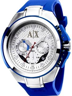 A|X Armani Exchange Blue Rubber Stainless Steel Sport Watch