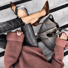 Dusky mauve oversized jumpers, leather cutoff trousers, brown suede pointed toe court shoes, and a black Celine bag - cute outfit inspo!