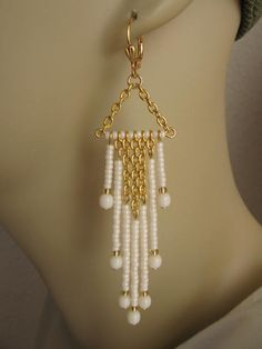 Seed Bead And Chain Dangle Earrings - Cream. $17.00, via Etsy.