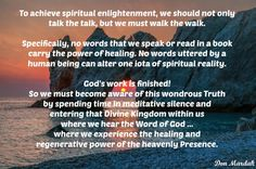 To achieve spiritual enlightenment, we should not only talk the talk