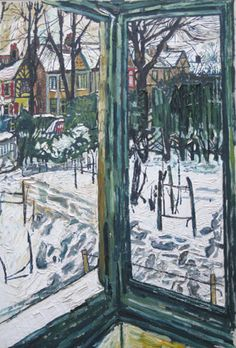 John Bratby, this reminds me of montreal Window View, Window Art, John Bratby, Between Two Worlds, Of Montreal, Landscape Paintings, Landscapes, Snow Scenes, Through The Window