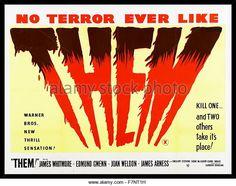 THEM (1954) - James Whitmore - Edmond Lowe - Joan Weldon - James Arness - Directed by Gordon Douglas - Warner Bros. - Teaser Movie Poster.
