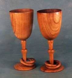 Wooden Wine Glasses For 5th Year Anniversary: The traditional gift for the fifth anniversary is wood. The intertwined wedding rings around the stems are a traditional touch on handmade wooden wedding and anniversary glasses. They are cherry, sealed with mineral oil and carnauba wax so they are fully food safe. They stand roughly eight inches high and three inches across. Following the tradition of the Irish Wedding Goblet, each is made from a single solid block, both cut from the same…