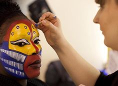 """Make-up artist Sara Tyndall works on West End musical """"The Lion King"""" - makeup on this show is truly in a league of its own, fantastic Rafiki Costume, Lion King Costume, Lion King Show, The Lion King, Lion King Musical, Lion King Broadway, James And Giant Peach, Holiday Party Themes, Magical Makeup"""