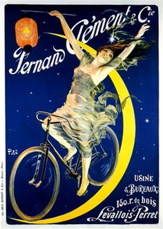 Fernand Clement cycles poster by Pal from 1895 France - Vintage Posters Reproductions. French transportation poster features a woman riding a bike on a crescent moon in a starry sky with her hands up holding a lantern. Giclee Advertising Print. Classic Poster