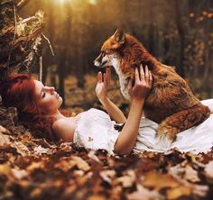 We're in love with this image (and wish we were snuggling with a fox in a bed of leaves) by Marketa Novak. Fantasy Photography, People Photography, Animal Photography, Nature Photography, Beautiful Creatures, Animals Beautiful, Cute Animals, Arte Steampunk, Fox Art