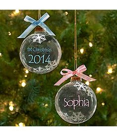 Baby's First Christmas Ornaments 2014 - personalized glass ornaments for baby girl or boy #babies #Christmas #giftideas