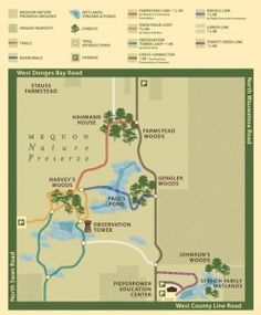 Mequon Nature Preserve  8200 County Line Road  Mequon, WI 53097  438 acres.  5 miles of trail open year-round.  8.7 miles, 18 mins