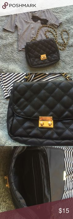Adorable black and gold bag! Small black shoulder bag with gold accents! Mixed Bags Bags Shoulder Bags