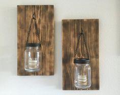 Set of 2 Hanging Mason Jar Sconces Mason Jar by AllThatsRustic
