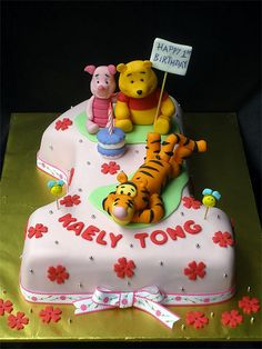 Pooh no.1 Cake Baby First Birthday Cake, Bithday Cake, Birthday Cake Girls, Birthday Cookies, Fondant Cake Designs, Winnie The Pooh Cake, Friends Cake, Smooth Cake, Sculpted Cakes