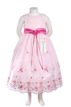 Girl's Sleeveless Pink Flower Girl Dress with Floral Accents - Sale Price: