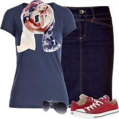 Fourth of July outfit. ~Grace by isongirls on Polyvore featuring Splendid, Converse, Kay Unger New York and Sole Society