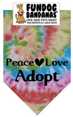 BANDANA  Peace Love Adopt for Medium to Large Dogs  tie dye -- Click image for more details.