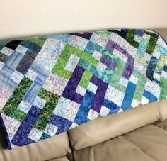 Batik Lap Quilt or Sofa Throw in Radiant by QuiltSewPieceful, $165.00