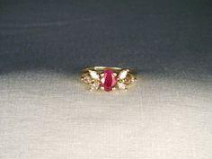Gorgeous Estate 14K Yellow Gold Ruby Diamond Band by ggemsonline, $775.00