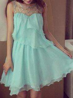 Mint Green Bead Embellished Ruffled Swing Party Dress