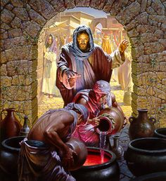 ~ Water to Wine - Biblical story by religious artist Morgan Weistling