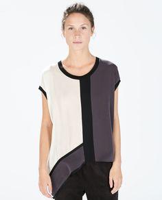 ZARA - WOMAN - COLOR BLOCK ASYMMETRICAL T-SHIRT love the mod