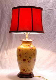 Large Porcelain Table Lamp Oriental English Country Roses Yellow Red Green Drum Shade Crystal Finial Traditional Lighting Fixture by SeRepete on Etsy