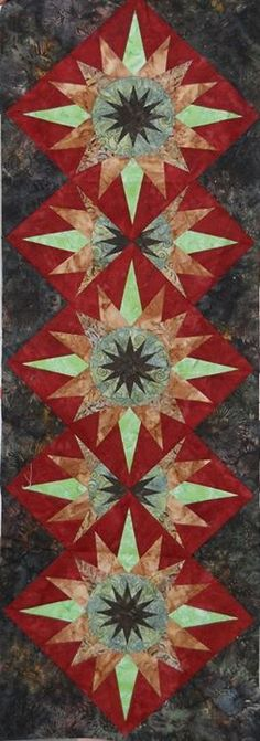 CACTUS FLOWER QUILT........PC............Cactus Flower Table Runner, Quiltworx.com, Made by CI Jodie Madison