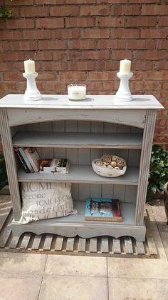 Shabby Chic Bookcase Shelving Display Unit Refurbished Dove Vintro Grey