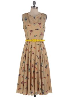 Until Next Tweet Dress by Eva Franco - Long, Multi, Print with Animals, Party, A-line, Sleeveless, Belted, Tan, Yellow