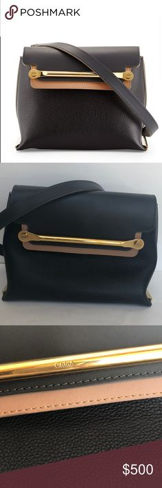 """Chloe Clare Flap Small Shoulder Bag Black Sand Pre-owned authentic Chloe """"Clare"""" small flap shoulder bag. This bag is in excellent condition with some tarnishing on the hardware. The previous owner was a smoker, so there is a smoke odor. Chloe grainy calfskin leather shoulder bag. Two-tone smooth leather trim. Golden hardware; tonal topstitching. Removable chain-inset shoulder strap, 19"""" drop. Metal logo bar with nail-head detail. Metal bars detail edged bottom. Inside, open pocket; leather…"""