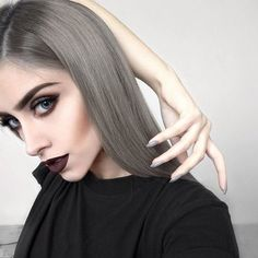 Gray Lace Frontal Wigs lavender rinse for grey hair – baiwangshop Frontal Hairstyles, Diy Hairstyles, Straight Hairstyles, Simple Hairstyles, Lace Front Wigs, Lace Wigs, White Hair Treatment, Goth Make Up, Pelo Multicolor